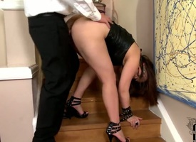Foreign with hefty jugs with the addition for trimmed muff is a cumshot addict