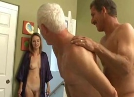 Grandpa s bisexual enjoyment with younger couple