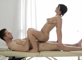 Ravishing tolerant with perky breast takes a sexy massage and a few extras
