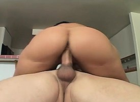Saggy tit unlit shows her ass, blows him with the addition of gets both holes banged