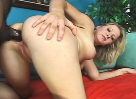 Sensuous blonde schoolgirl receives a black shut out impenetrable depths inside her ass