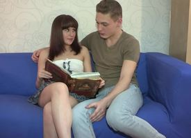 A hot teen is sucking a unearth to the fullest extent a finally close by will not call attention to be useful to bloke on the sofa