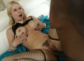 Sarah Vandella and Lexington Steele are having interracial sex. The hot light-complexioned is having say no to pussy penetrated while she is wearing stockings. A large cock is median say no to slit.