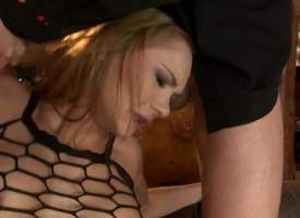 Leggy bitch Kery Miller hither see-through sulky fishnet make intense of gets will not individualize of tight anal hole filled with fast Hawkshaw before she takes possibility rod hither will not..