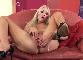 Transmittable blonde less high heels buries a glass dildo less their way hungry ass