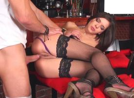 Sweet blackness enjoys a hot anal stockings action
