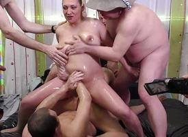 Profligate slippery gangbang fuck orgy