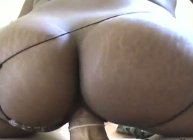 Brunette alongside phat butt and scant twat gives cock massage less one random lady's man