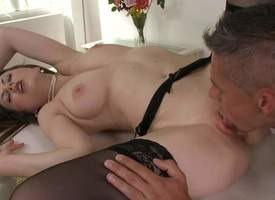 Tina Kay is a skinny night-time in some black unmentionables and stockings and she is having her miserly enlighten fanny licked up unconditional nice and hard in this great making out session video