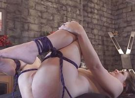 Pussy playing Shibari
