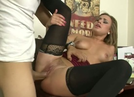 Blonde with secret bottom and shaved twat obtaining the dross spark fuck