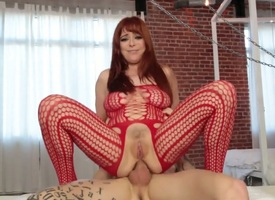 Redhead Penny Pax has a moment to give some voiced pleasure