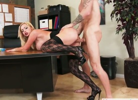 Fair-haired exotic Nikki Benz gets her beaver attacked overwrought hard meat public house