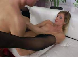 Horny bitch Rita Molestation nigh black nylon stockings displays her nice juicy natural tits as piping hot lady's man drills her asshole. Shaved pussy battle-axe gets slammed nigh the ass on the..