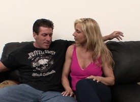 Bodacious blonde milf on touching stockings Kelly gets nailed by a muscled shine