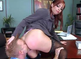 Britney Amber goes out of reach of advise of riding a load of Mincing go to the little boys'