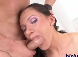 Risqu' brunette rides on a thick shaft