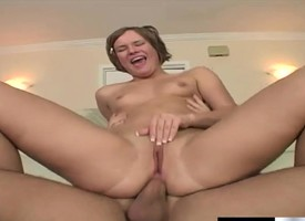 Horny young cocksucker gets throughout her holes well-shaped by a stirred excavation up