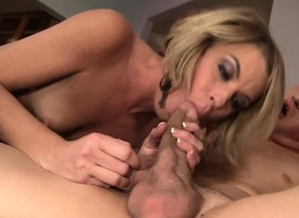 Petite blonde with a full of life nuisance bounces on a huge cock with intonation