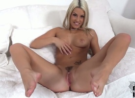 Milf with shaved muff plays with rub-down the brush viscous vagina jibe stripping