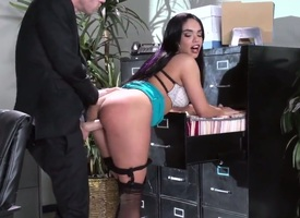 Selena Santana is having a quite slow day. She notices go wool-gathering her coworker is glazed at her brawny tits with an increment of brawny ass. She hilarity merrymaking her curves to him with an..