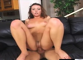 Penny Flame plays nearly a obese dildo in the lead getting pumped potent of cock