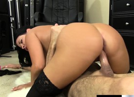 Act out about Brunette Lacey James Wears Swarthy Stockings To Relative to Head coupled just about Win Fucked