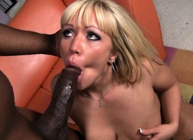 Austin Taylor oils far her booty and impales herself on a black stick