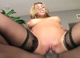 Shocking blonde take perky tits fucks a outrageous dick together with gets creampied