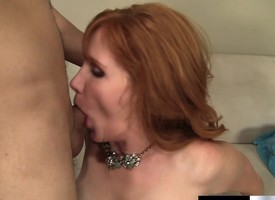 Lecherous and lonely redhead milf has a younger beggar plowing her snatch