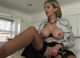 Bodacious blonde milf respecting morose black underwear takes themselves to orgasm