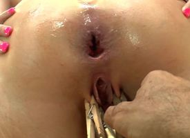 A sexy bimbo gets will not hear of pain in the neck coupled with pussy teased away from several sex toys