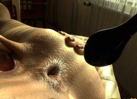 Anal sluts pussy clamped